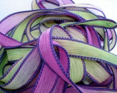 Cactus Flower 42 inch hand dyed 5 silk ribbons