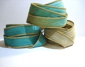 Rain Forest Trio 3 coordinating hand dyed silk ribbons