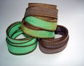 Grasshoppers  Trio 3 coordinating hand dyed silk ribbons
