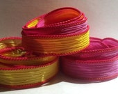 Tropical Burst trio 3 coordinating hand dyed silk ribbons