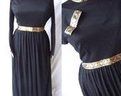 Vintage Black Goldworm Style Gold Paisley Long Maxi Dress M/L Mint