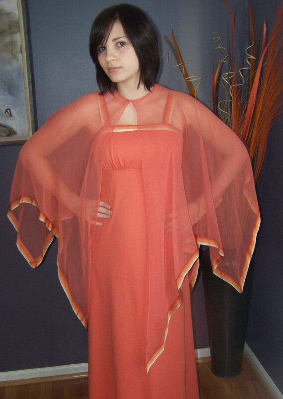 Stunning 70's Empire Waist Coral Evening Gown with Sheer Shawl Size XS