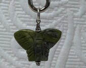 Hand Carved Butterfly Shaped Green Unakite  and Silver Pendant