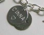 Custom stamped charm personalized with name initials acronym etc
