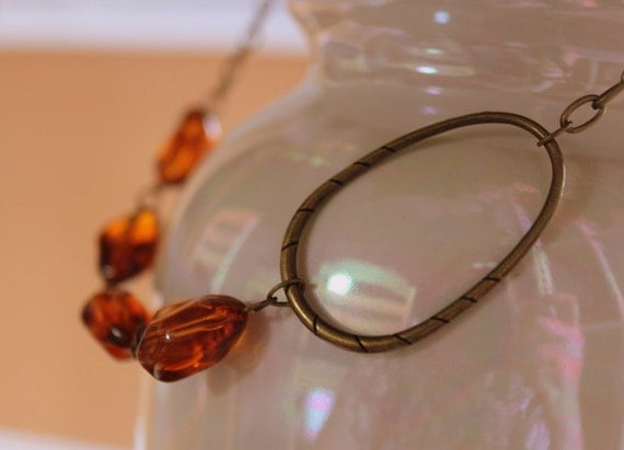 Amber Brass Necklace - Brass and Amber Resin Necklace