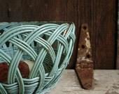 Farmhouse Robin Egg Blue Wicker Basket