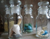 Vintage Glass  Apothecary Spice Jars  Set of Five