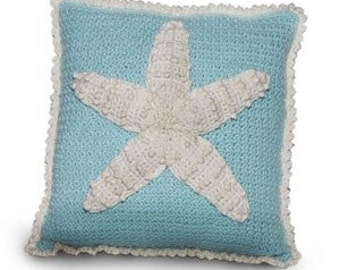 Starfish and Seahorses Crochet Pillow Set