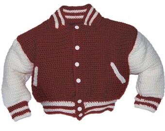 Baseball Jacket Crochet Pattern, Crochet Pattern Baby, Baby Crochet Patterns, Baby Boy Crochet Pattern, Instant Download