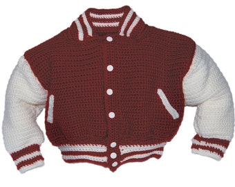 Letterman's Jacket Crochet pattern for children and adults
