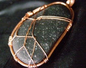 Central Oregon Coast natural beach stone and RECYCLED COPPER REVERSIBLE necklace pendant