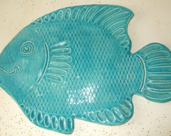 Aqua Fish Plate Spoon Rest Tea Bag Holder Soap Dish Serving FREE SHIPPING