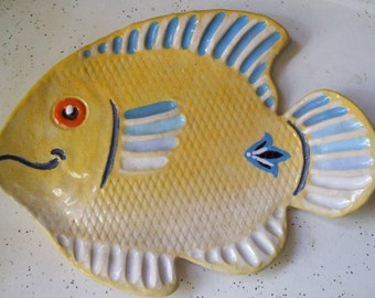 Large Fish Plate Spoon Rest Tea Bag Holder Soap Dish Serving FREE SHIPPING