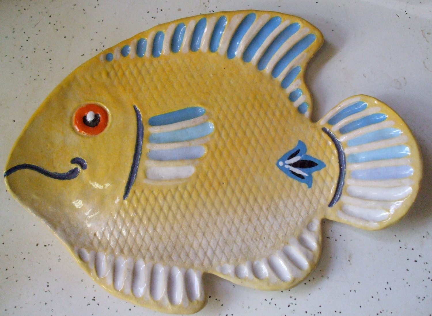 Large fish plate spoon rest tea bag holder soap dish by for Fish tea bags