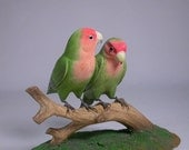 Pair of Peach-faced Lovebird No.1 Hand Carved Wooden Bird