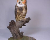 "10"" Great Horned Owl Hand Carved Wooden Carving"