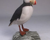 Horned Puffin Wood Carving Hand Carved and Hand Painted