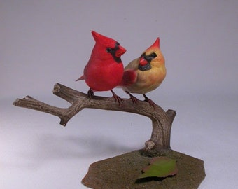Mini Pair of Cardinal male and female Hand Carved Bird