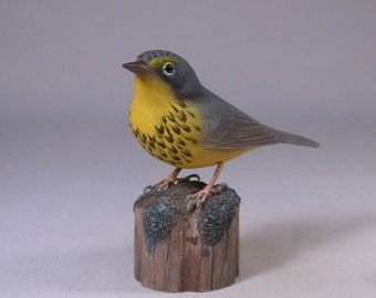 Canada Warbler Wood Carving