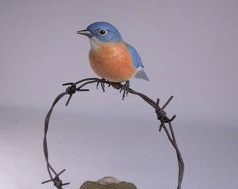 Eastern Bluebird Female on barbed wire Wooden carved Bird
