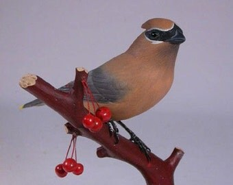 Cedar Waxwing Hand Carved Wooden Bird