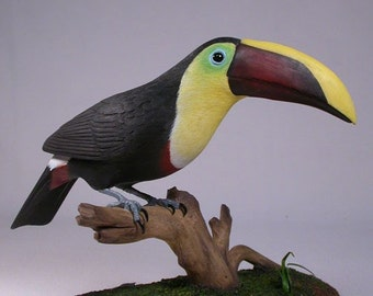 10 inches Chestnut-mandibled Toucan Carved wooden bird
