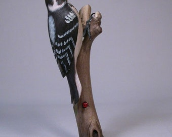 7-3/8 inches Hairy Woodpecker Hand Carved wooden Bird