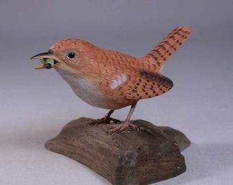 House Wren Hand Carved Wooden Bird