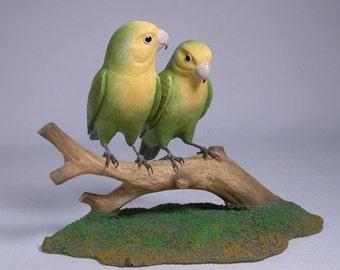 Pair of Peach-faced Lovebird No.2 Hand Carved Wooden Bird