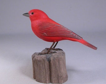 Summer Tanager Hand Carved and Painted Wooden Bird