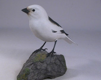 Snow Bunting Hand Carved and Hand Painted Wooden Bird