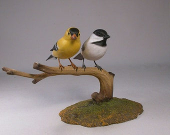Black-capped Chickadee with  America Goldfinch Hand Carved wooden Bird Carvings