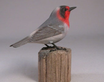 Red-faced Warbler Hand Carved Wood Bird