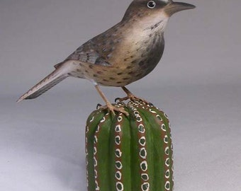 Cactus Wren Hand Carved and Hand Painted Wood Bird