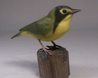 Kentucky Warbler Wood Carving Carved Wooden Bird