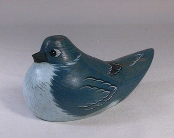 Mountain Blurbird Hand Carved and Hand Painted Wooden Bird