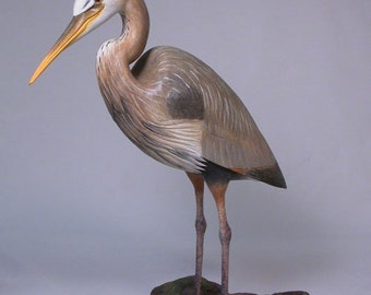 11 inch Blue Heron  Hand Carved Wooden Bird