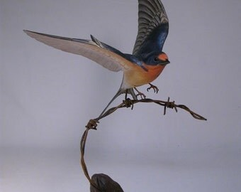 Barn Swallow Hand Carved Wooden Bird