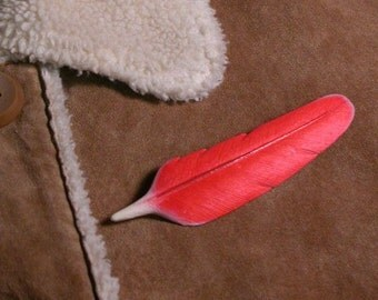 Feather pin-cardinal 3.73 inch Wooden Carved wood carving, cardinal feather, handmade feather, hand carved