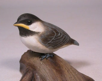 Baby Black-capped Chickadee Carved Bird Basswood