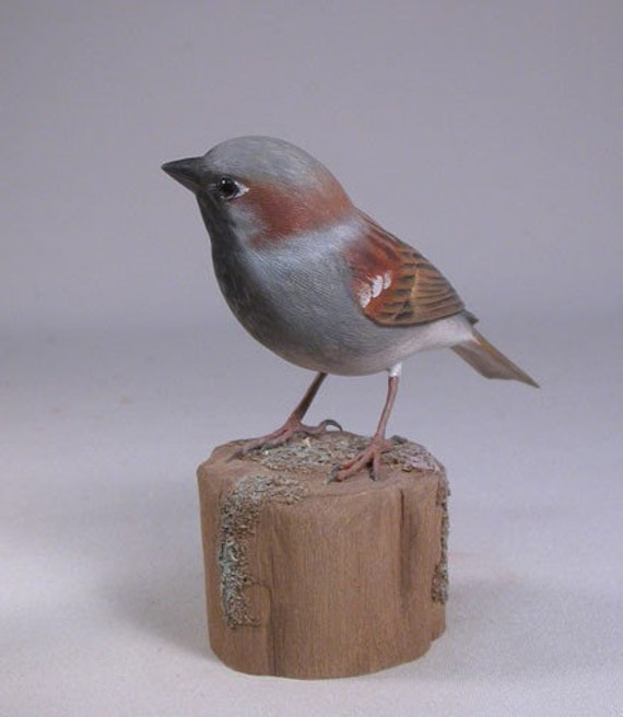 House Sparrow Hand Carved Wooden Songbird