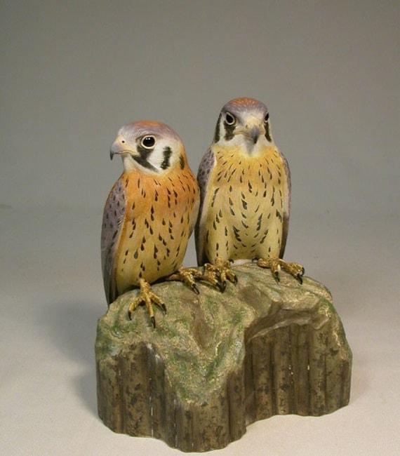 Pair of Baby Kestrels Hand Carved Wooden Bird