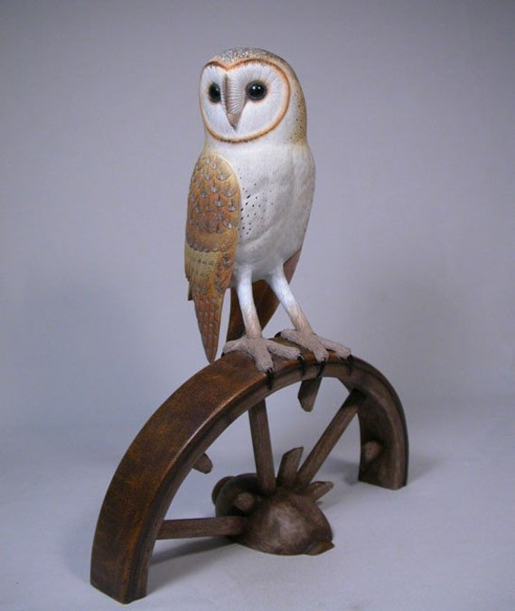 Inches barn owl hand carved wooden bird carving