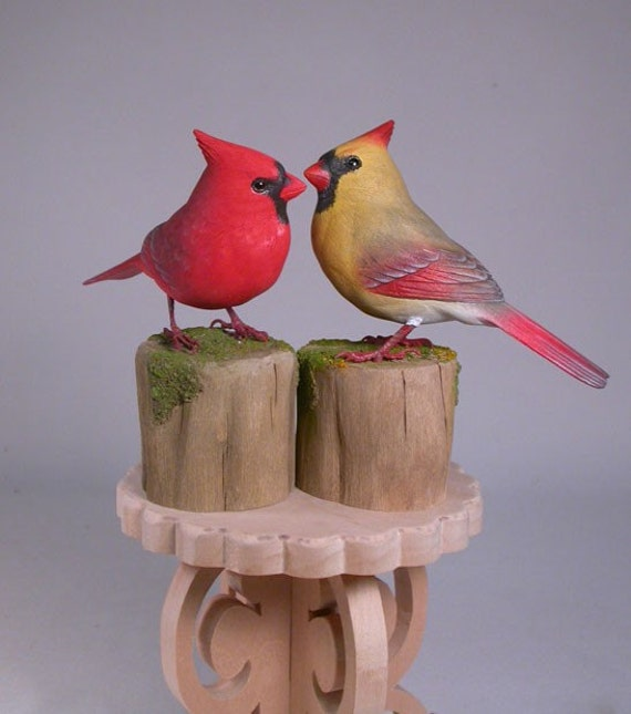 Cake Topper Wooden Hand Carved And Painted Cardinal Love