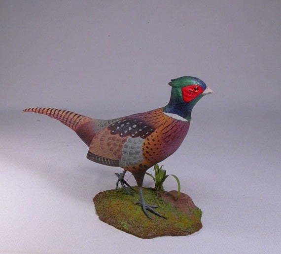 10-1/2 inches Ring-necked Pheasant Carved Wooden Bird