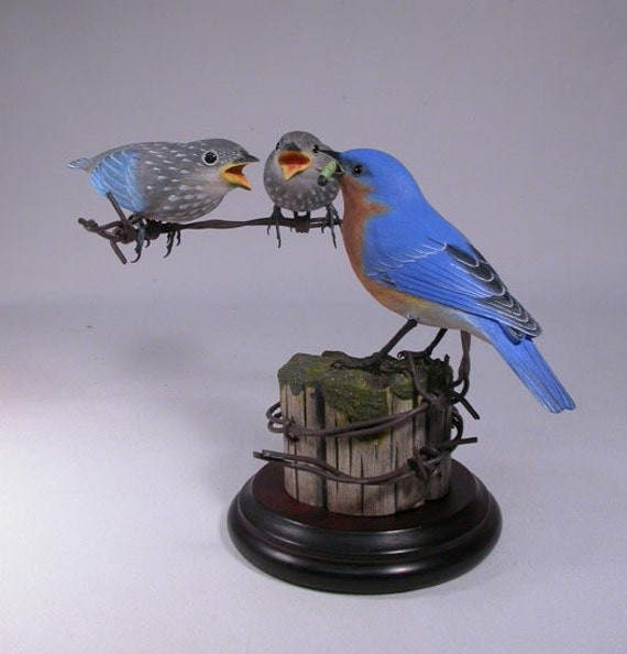 Eastern Bluebird Male with 2 Babies Hand Carved Wooden Bird