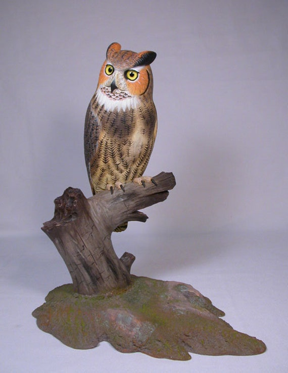 10 Great Horned Owl Hand Carved Wooden Carving