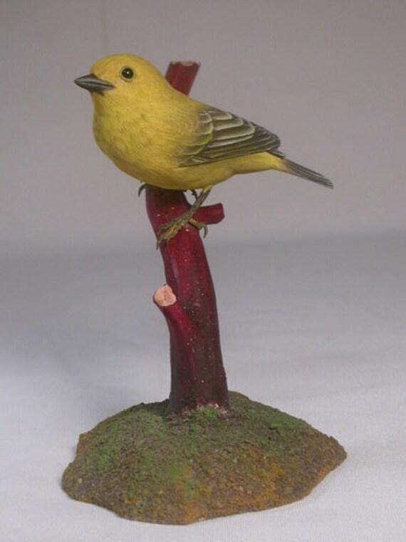 Yellow Warbler (female) Wooden Hand carved Bird