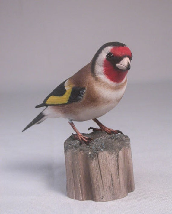 European Goldfinch Hand Carved Wooden Bird