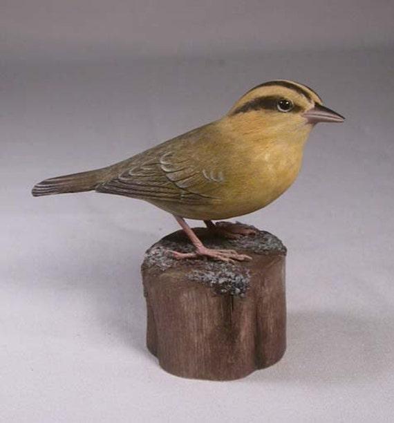 Worm-eating Warbler Bird Carving Wood